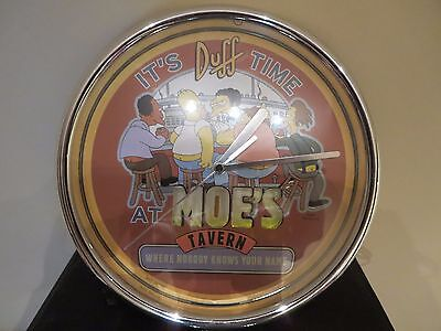 The Simpsons lighted wall clock 2001 - Moes Tavern / Its Duff Time