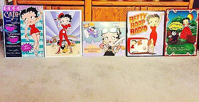 Lot of Five (5) Collectible Vintage Betty Boop Metal Signs ~ Near Mint Condition