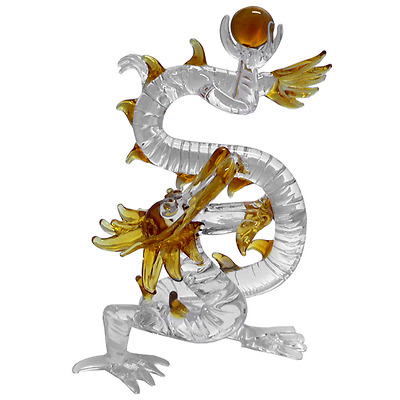 New Clear Glass Dragon with Amber Ball in Claw Home Decor Figurine