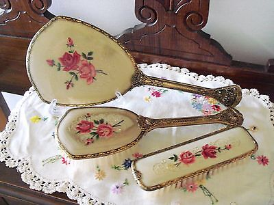 Vintage Petit Point Dressing Table Set - Vanity Mirror, Brush & Clothes Brush