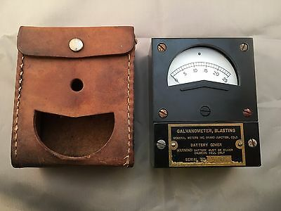 VINTAGE BLASTING GALVANOMETER  WITH LEATHER CASE  Free shipping