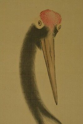 Hanging Scroll Japanese Painting 応陽 国井 Crane Asian art Japan ink Old Picture y49
