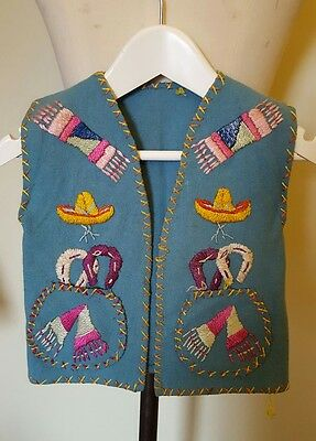 Unique piece Vintage vest top hand crafted Mexican theme 1960s  child size small