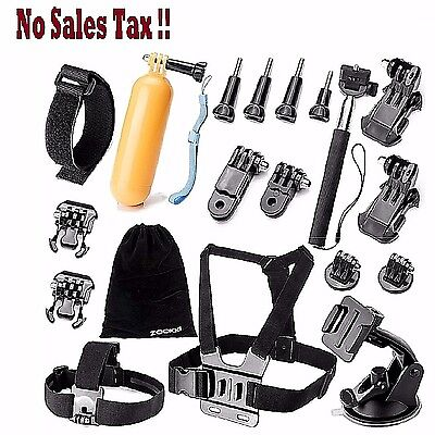 Gopro Hero 2 Accessories Set Camera Chest Head Monopod Mount Kit For 5 4 3+ 3 1