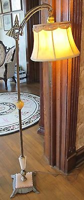 Antique Art Deco Bridge Arm Floor Lamp with Victorian Silk Lamp Shade