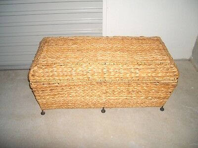 Large Water Hyacinth Woven Cane Hamper Trunk Blanket Box Toy Chest