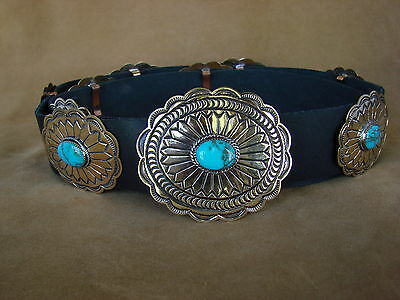 Native American Jewelry Turquoise Brass Concho Belt Albert Cleveland