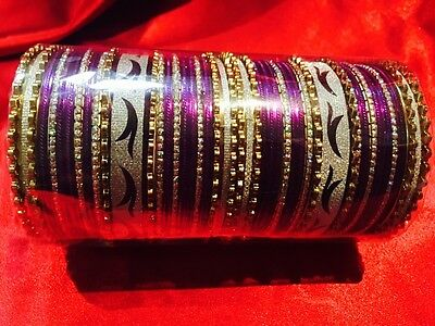 Able 2.8 L Bollywood 6 Bangles Bracelet Indian Wedding Jewellery Chura Gold Tone A2 For Fast Shipping Jewelry & Watches