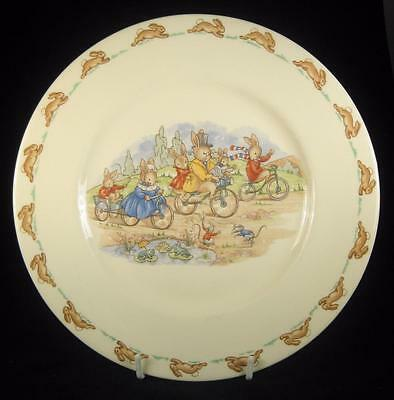 Royal Doulton Bunnykins Riding Bicycles Plate 1959-75