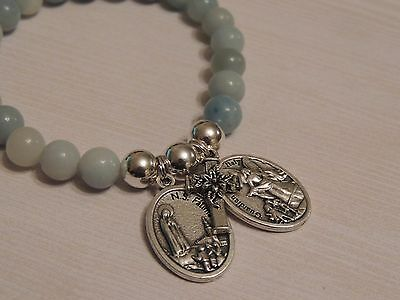 Our Lady Of Fatima With Guardian Angel Medal- 8Mm Amazonite Gemstone Bracelet
