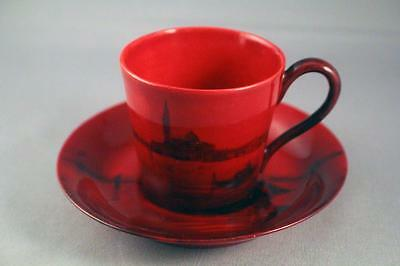 Very Rare Royal Doulton Flambe Coffee Cup And Saucer - Perfect (#5)