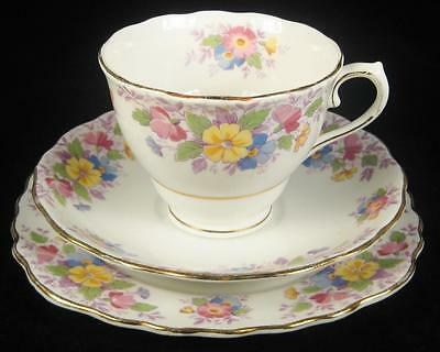 Colclough Colourful Flowers Bone China Cup/Saucer/Plate Trio