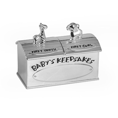 New Animals First Tooth And Curl Box Silver Plate Baby Decor Engravable