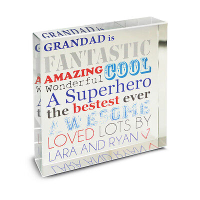 Personalised He Is...Large Crystal Token - Father's Day Gift For Dad Grandad UK