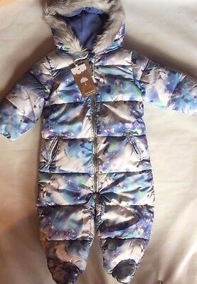 BNWT Next Snowsuit Hooded Unicorn Print Fur Girl All In One Ski Suit