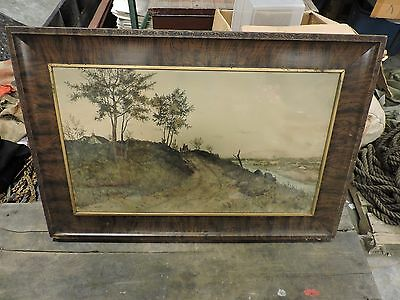 Antique/Primitive Signed Etching Print, Countryside, CW Bohde, 1882, Framed (BX)