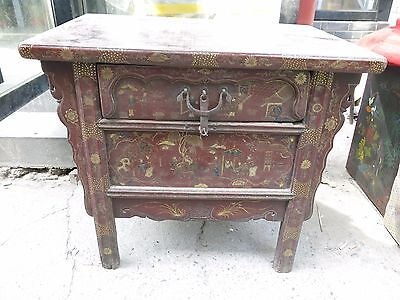 China old handwork lacquerware wood picture beautiful wardrobe Cabinet statue