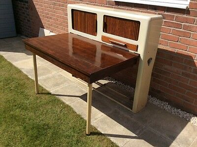 Mid Century very cool 1950s steel metamorphic cuboard / table - kitchen or study
