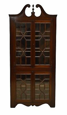 Chippendale Style Mahogany Corner Cabinet Cupboard w/ key Individual Glass Panes