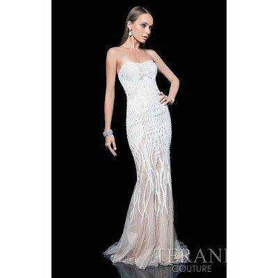 a3fad1efa9c Terani Couture 1611GL0473 Strapless Sweetheart Beaded Ivory Nude Gown Prom  Dress