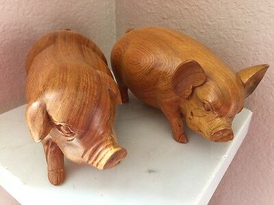 Hand Carved Wood Wooden Pair of Pigs EXCEPTIONAL