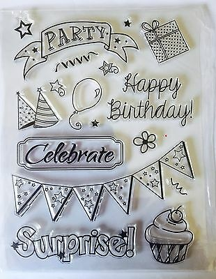 NEW• HAPPY BIRTHDAY Party Clear Stamping SET STAMP Sheet
