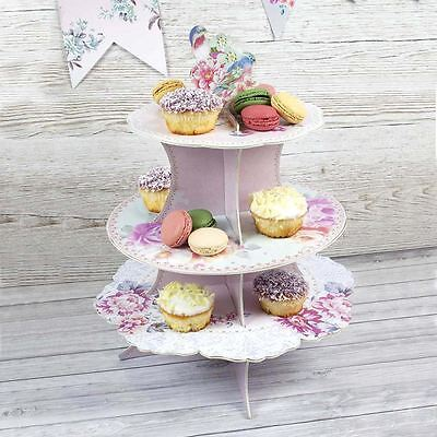 Floral Pastel Three Tier Cardboard Cake Stand Wedding Party Cupcake Stand