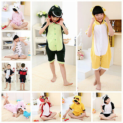 Summer Girls Boys Animal Cosplay Kigurumi Pajamas Short Sleeve Costume Sleepwear