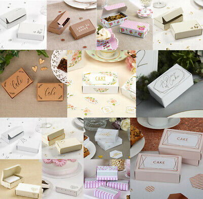 10 Cake Boxes,Single Slice,Wedding,Party, Plain White or Plain Ivory Embossed
