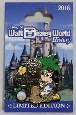 Disney Piece of History 2016 Polynesian Resort With Mickey 3-D Pin LE 1500 NEW