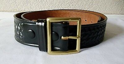 New Dutyman 1621 Basketweave Thick Leather Belt 38 Police Security Black Duty