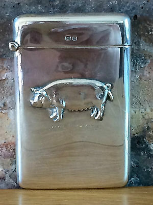 Silver Pig Novelty 1924 Card Case Set in Relief by Robert Pringle and Sons