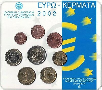 Greece Euro Coin Set Official 2002 New BUNC all Coins 1cent To 2€ In Blister