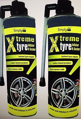 2 x 500ml Simply Tyre Seal Inflator Seals Inflates Repair Puncture Emergency sx5