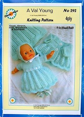"DOLLS KNITTING PATTERN  No 292 by Val Young to fit  9""-10"" doll  4ply yarn"
