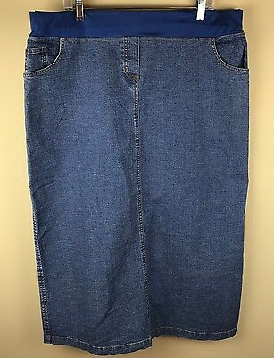 "Maternity Long Denim Modest Skirt XL 38"" Waist Unstretched Baby And Me"