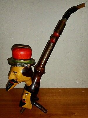 Hand Carved Folk Art Cherry Wood Meerschaum Pipe Made in ITALY VTG