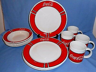 Lot/Set 12 Pc Gibson Coca-Cola Dinnerware 4 Dinner Plates-4 Soup Bowls-4 Mugs