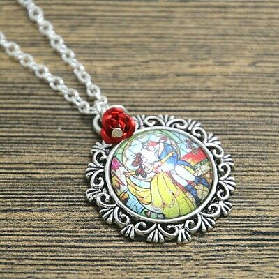 Beauty and the Beast Necklace Tale As Old as Time Necklace Stain Glass Belle