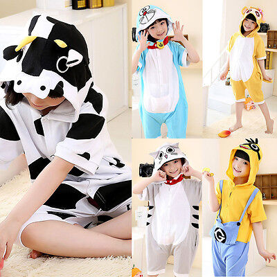 Summer Kids Boy Girl Kigurumi Animal Cosplay Pajamas Short Sleeve Sleepwear Pj's