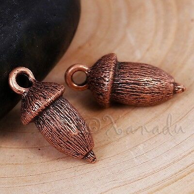 Antiqued Copper Autumn Pendants C5470-5 Acorn Charms 18mm 10 or 20PCs