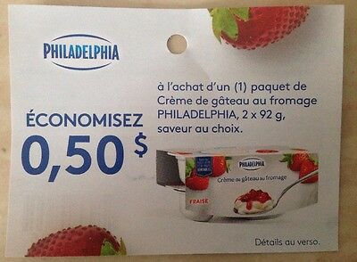 Lot 10 x 0.50$ ANY PHILADELPHIA 2x 92g Products Canada Coupons