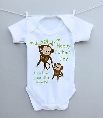 Personalised baby bodysuit vest grow 1st fathers day daddy monkey present gift