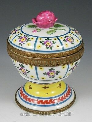 Antique France HANDPAINTED FLOWERS ROSE ON TOP Potpourri HOLDER BOX JAR