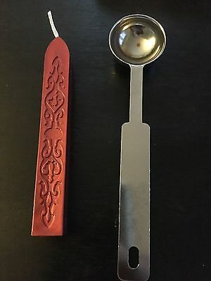 Metal Melting Wax Spoon Envelope Seal Steel Letter Stamp Craft & Red Wax Stick