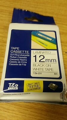 Brother P-Touch Tape 12mm Black/White TZE231