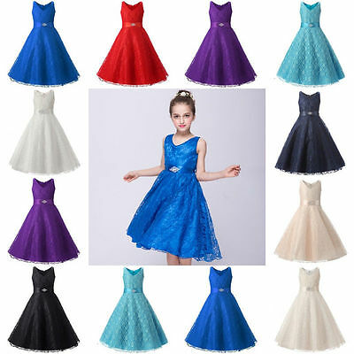 Kids Flower Girl Pageant Dress Birthday Wedding Bridesmaid Gown Formal Dresses *