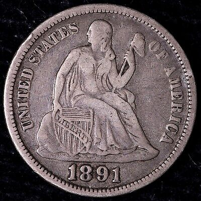 VF+ 1891 Seated Liberty Dime R8KCE