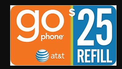 AT&T Go phone $25 Refill. FASTEST REFILL card Credit applied DIRECTLY to PHONE
