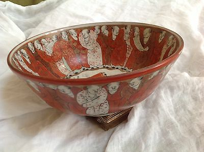 "Excellent 9 1/2 "" Hand Painted Antique  Kutani Bowl many figures inside and out"